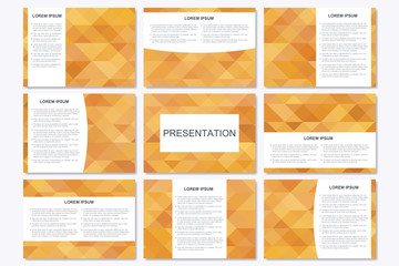 Set of modern business presentation templates in A4 size. Abstract geometrical triangle. Vector design illustration