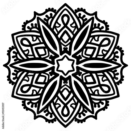 Black mandala for coloring. Mandala vector coloring page. Mandala ...