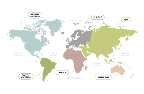 World Map Continents / Vector of World Map with Continents Section Name