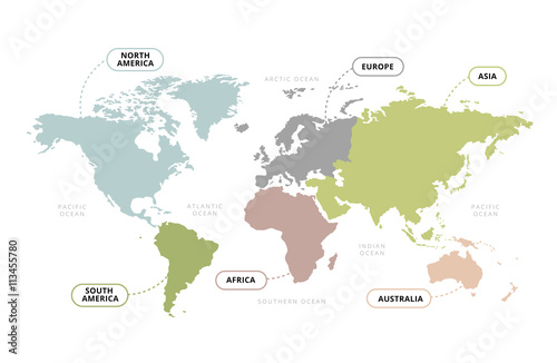 World Map Continents Vector Of World Map With Continents Section - Name of continents