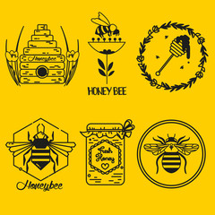 Set of honey and bee labels, graphic for honey logo eco products. Vector illustration