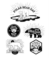 logos and labels to the polar bear's Day with text sun, icebergs