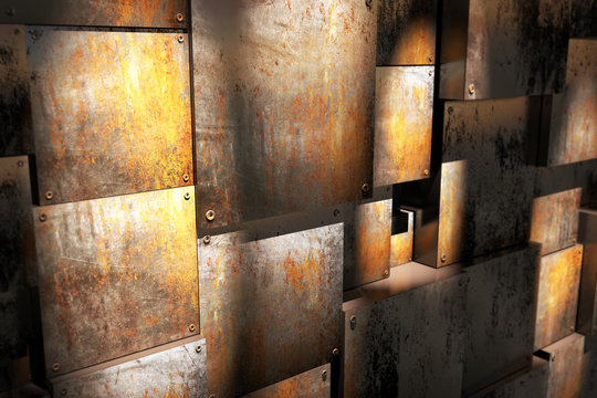 room with rusty box
