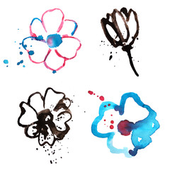 Four hand painted watercolor flowers in grunge style, illustrations for your design