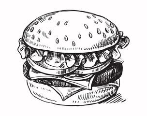 black hand drawn hamburger