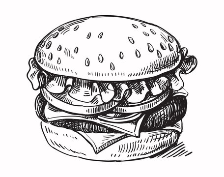 black hand drawn hamburger