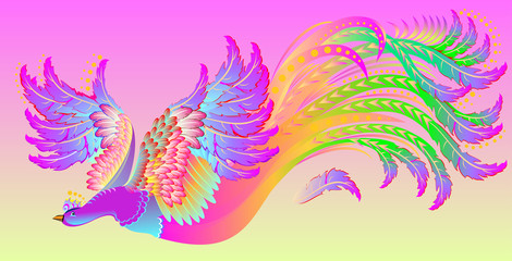 Illustration of flying fairyland bird, vector cartoon image.