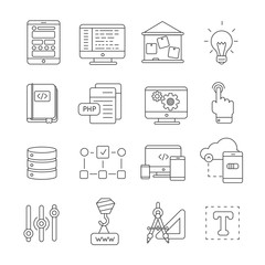 Program Development Line Icon Set