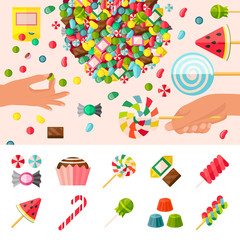 Sweet Candy Flat Composition