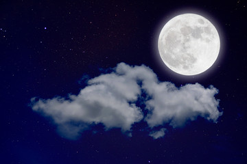 Wonderful background, night sky with full moon, stars, beautiful