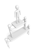 Teamwork: Pyramid with white 3d men, 3d illustration
