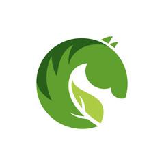 Vector sign or logo green horse.