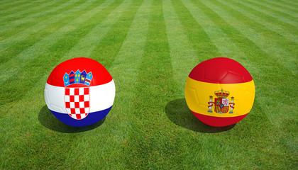 Croatia / Spain soccer game on grass soccer field 3d Rendering.