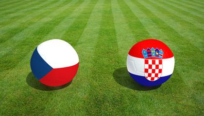 Czech Republic / Croatia soccer game on grass soccer field 3d Rendering.