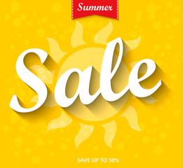 Summer Sale Banner, Sale Poster, Sale Flyer, Sale Vector. 50% Off, Sale Background. Big Sale, Super Sale, Special Offer on Every Brands.Vector illustration.