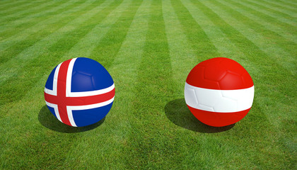 Iceland / Austria soccer game on grass soccer field 3d Rendering.