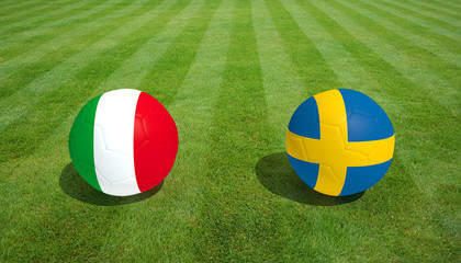 Italy / Sweden soccer game on grass soccer field 3d Rendering.