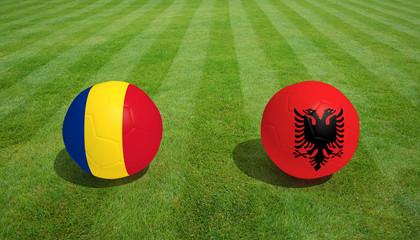 Romania / Albania soccer game on grass soccer field 3d Rendering.