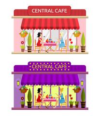 Open cafe building facade. Vector. Flat.