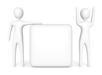 empty cube with two white 3d men, 3d illustration