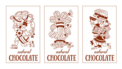 contour pattern maya, aztec and cacao nibs, chocolate label logo