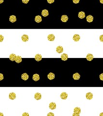 Trendy vector glittering gold seamless polka dot pattern. Great texture with golden middle-size dots on striped black and white background.
