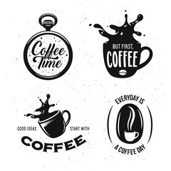 Coffee related quotes set. Coffee time. But first, coffee. Good ideas start with coffee. Everyday is a coffee day.