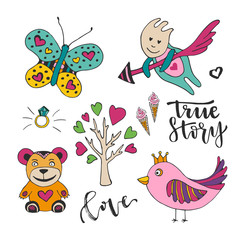 Vector decoration for valentines love day. Set of cute doodle design elements. Cupid, bird, butterfly and tree