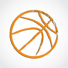 orange brush line basketball ball