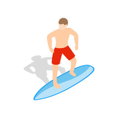 Surfer man on surfboard icon, isometric 3d style