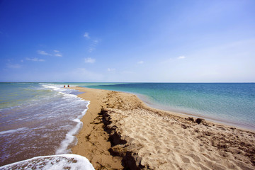 the picturesque sandy beach of the Black sea