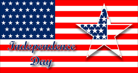 American flag design for celebration an Independence Day. Background with star in patriotic colors. Vector design.