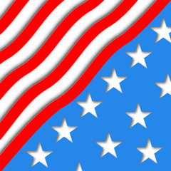 Illustration art American Flag for Independence Day. Vector design for card and greeting.
