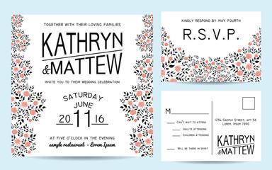 Elegant wedding invitation set with rsvp card