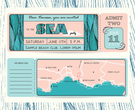 Summer Invitation Template. Ticket to a sea party or celebration