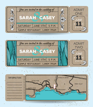 Marine wedding invitation set. Ticket to a sea party with road m