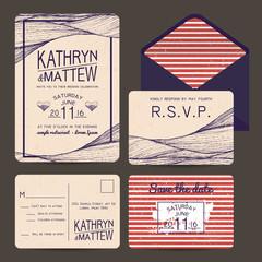 wedding invitation set with rsvp card. wavy and stripy ornament.