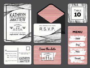 wedding invitation set with rsvp, table and menu cards. wavy and