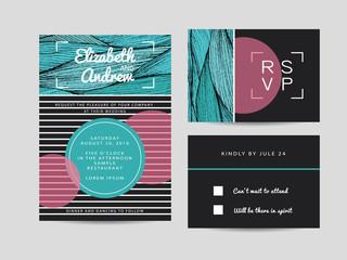 wedding invitation set with rsvp card. beautiful wavy ornament b