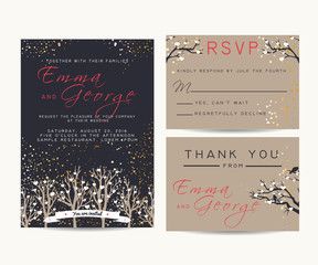 beautiful wedding invitation set, decorated with trees and gold