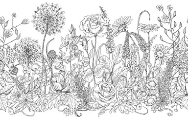 Seamless line pattern with wildflowers