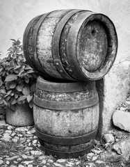 old wooden wine cask