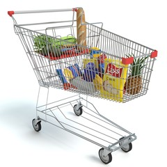3d illustration of a shopping cart of food