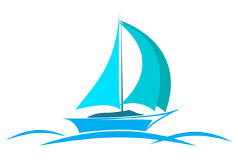 blue logo yacht on the sea with sails