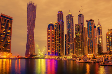 Dubai, United Arab Emirates: Marina in the sunset