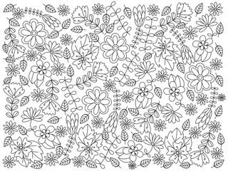 Floral ornament coloring book vector illustration