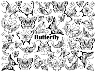 Butterfly colorless set vector illustration