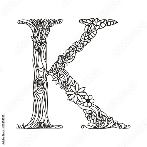 quot Letter K coloring book for adults