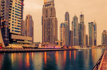 Dubai, United Arab Emirates: Marina in the sunset