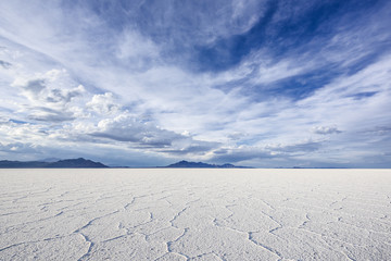 Wide Angle Closeup of White Salt Flats during sunset near Salt Lake City, Utah